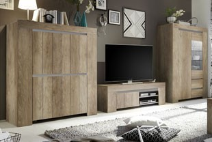 Ensemble TV contemporain couleur chêne marron VENEZIA 2