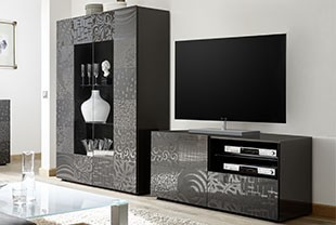 Ensemble meuble TV design anthracite ELDA 2