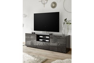 Grand meuble TV laqué anthracite design ELDA 2