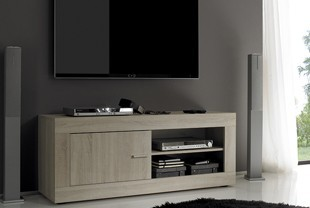 Meuble TV-HIFI contemporain ROMINA, coloris chene samoa