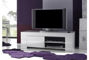 meuble tv hifi design elios coloris blanc laqu disponible en 2 dimensions - Meuble Tv Design Blanc Laque Aphodite