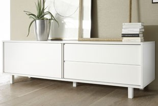 meuble tv design blanc laqu flavia 2 - Meuble Tv Design Blanc Laque Aphodite