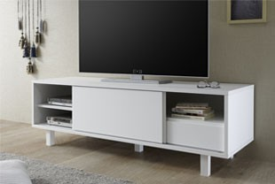 meuble tv design blanc laqu flavia - Meuble Tv Design Blanc Laque Aphodite