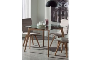 table manger carre design en verre et en frne rosalie - Table Salle A Manger Carree Design