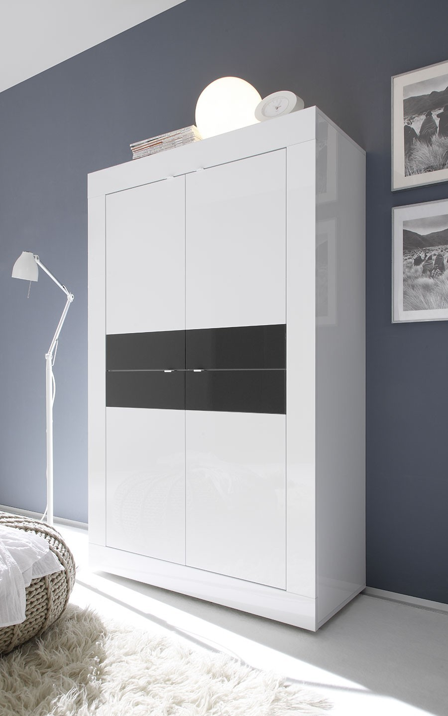 Buffet Haut Design Laqu Blanc Et Anthracite # Armoire Bar Blanc Laque Led