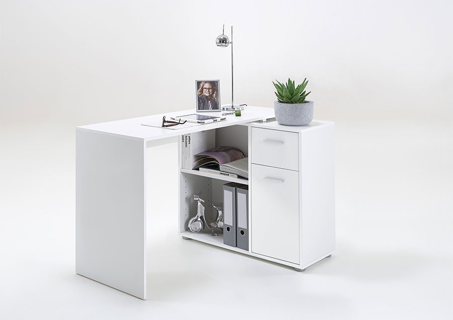 Meuble bureau blanc modulable for Bureau simple blanc