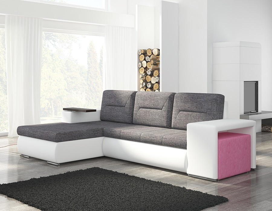 canape angle gris et blanc avec pouf rose. Black Bedroom Furniture Sets. Home Design Ideas