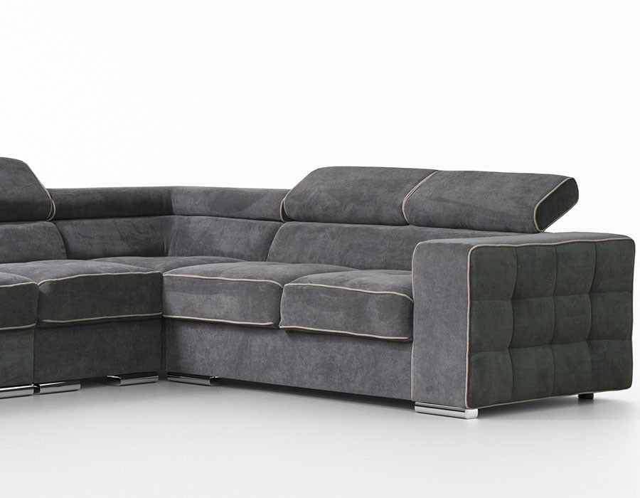 Canape angle en tissu gris - HcommeHome
