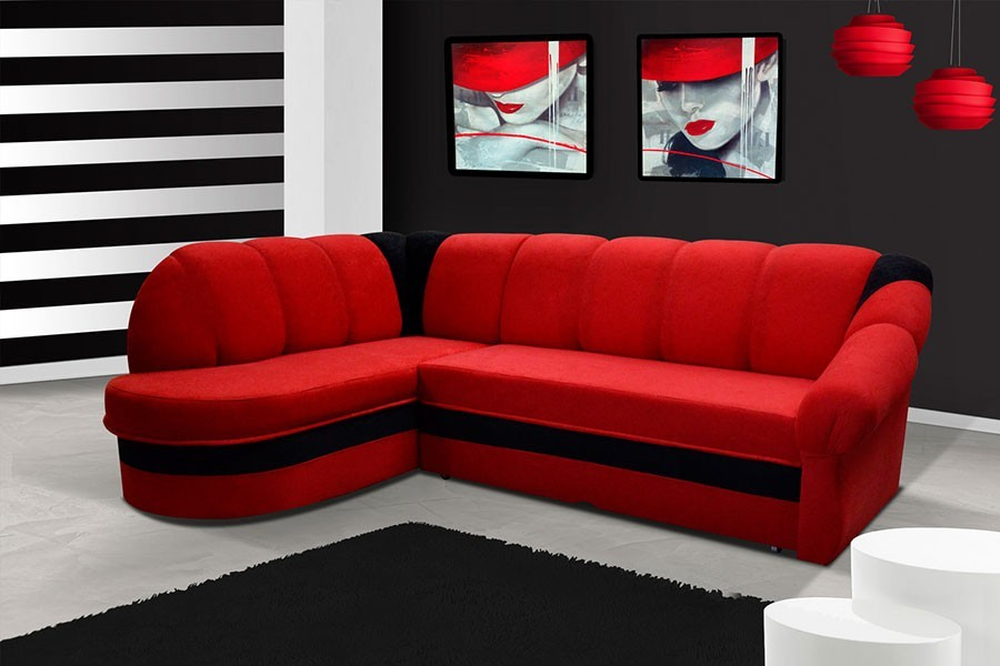 canap d 39 angle convertible rouge et noir design. Black Bedroom Furniture Sets. Home Design Ideas