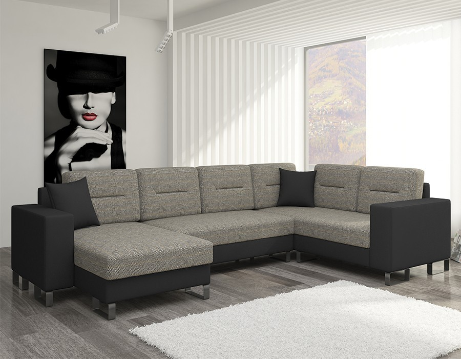 canape panoramique pas cher gris et noir. Black Bedroom Furniture Sets. Home Design Ideas
