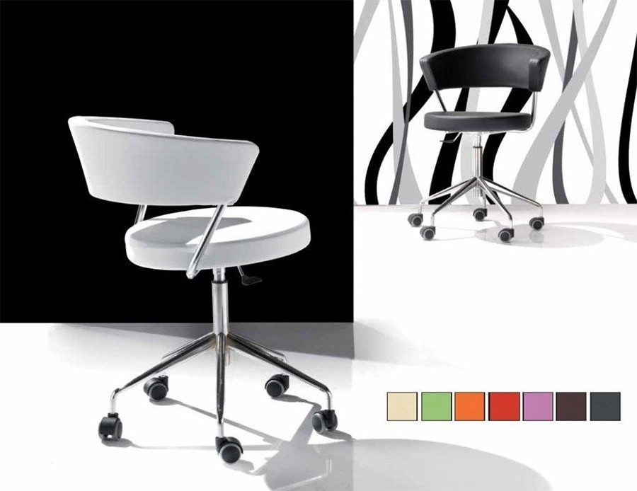 Chaise de bureau design en PU LEONE, disponible en 8 coloris