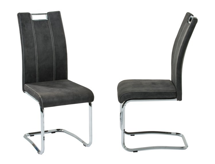 Chaise de salle à manger design en PU IGNACE ANTHRACITE (lot de 4)
