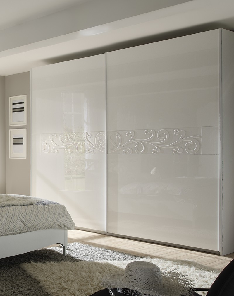 Chambre adulte complète lumineuse design INFINITY, laquée blanche