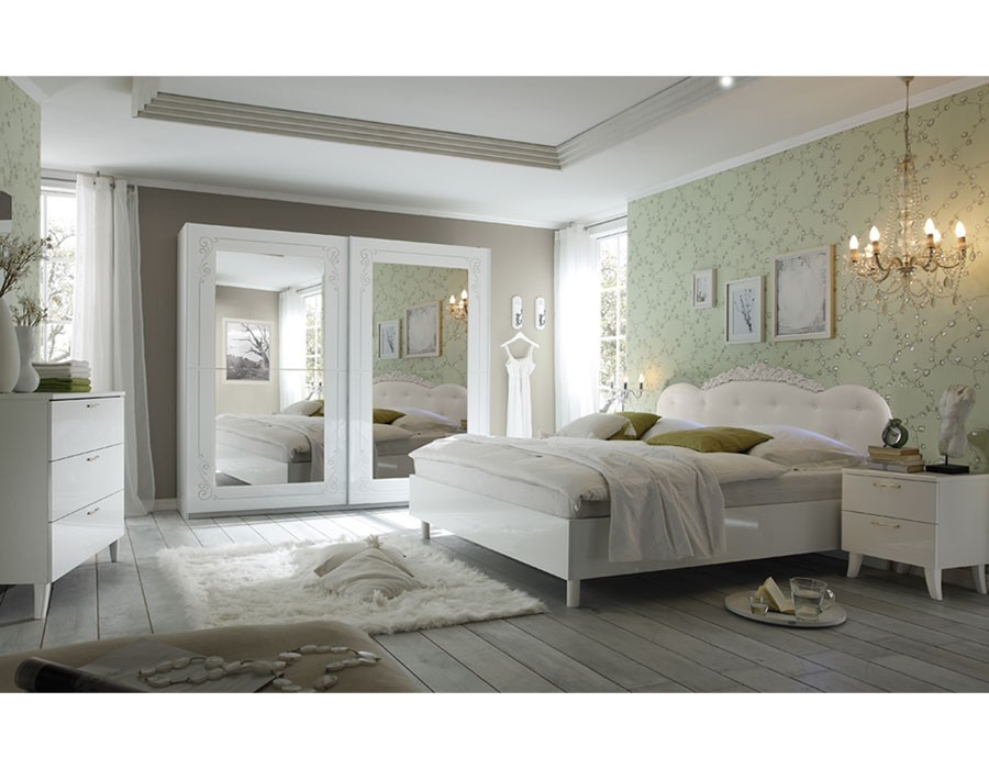 Chambre adulte design blanc laqué SISI - HcommeHome