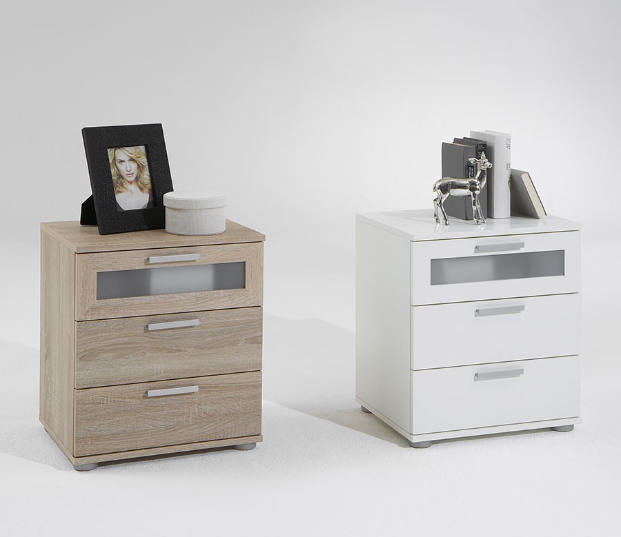 table de chevet 3 tiroirs blanc ou bois. Black Bedroom Furniture Sets. Home Design Ideas