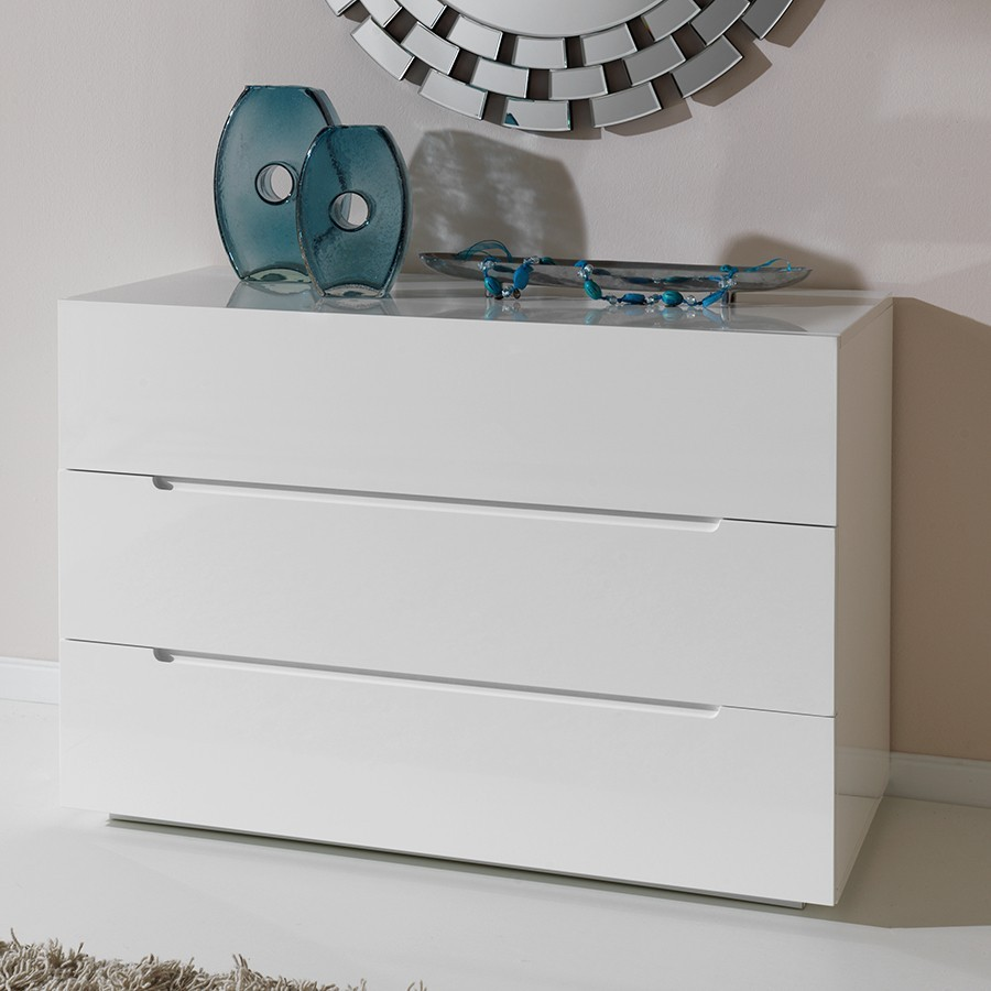 Ordinaire Commode Blanche Design #5: Commode Adulte Design Laquée Blanche URBANO, 3 Tiroirs