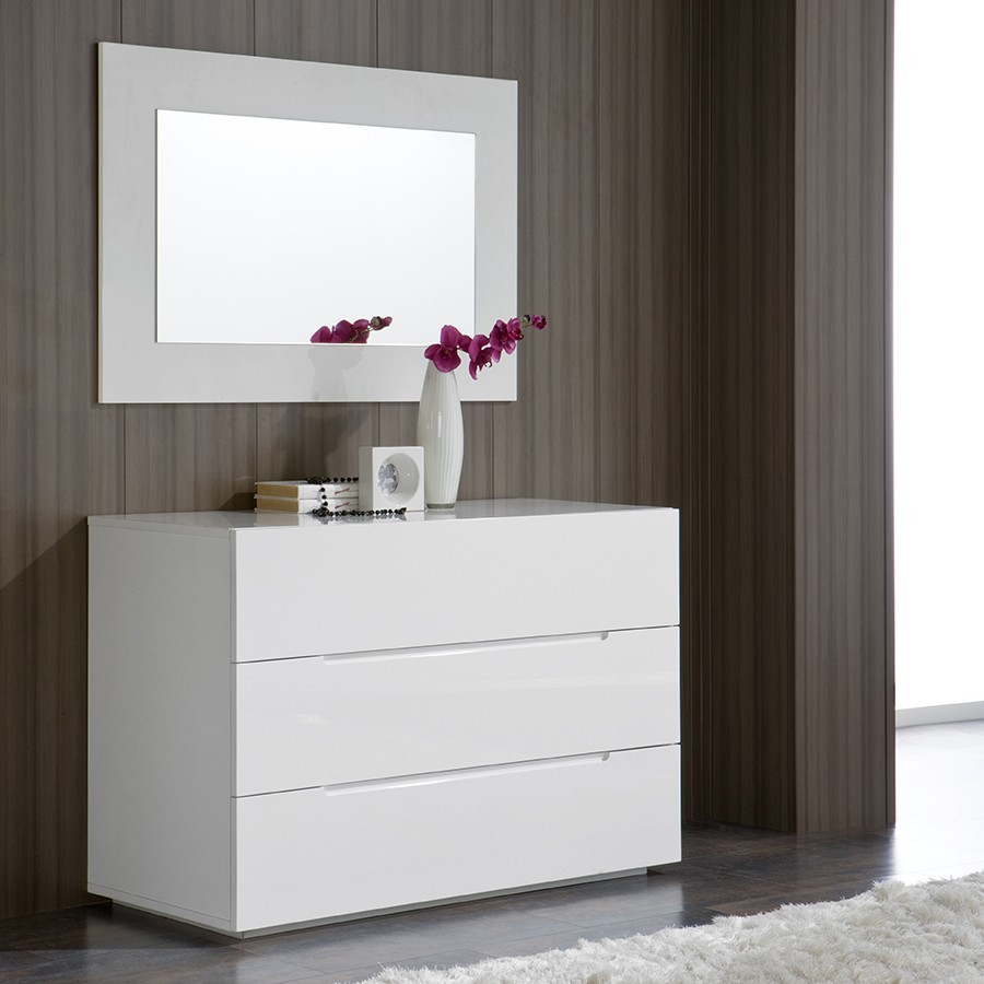 Superbe Commode Design Blanche #8: Commode Adulte Design Laquée Blanche URBANO, 4 Tiroirs, Commode Adulte -  HcommeHome
