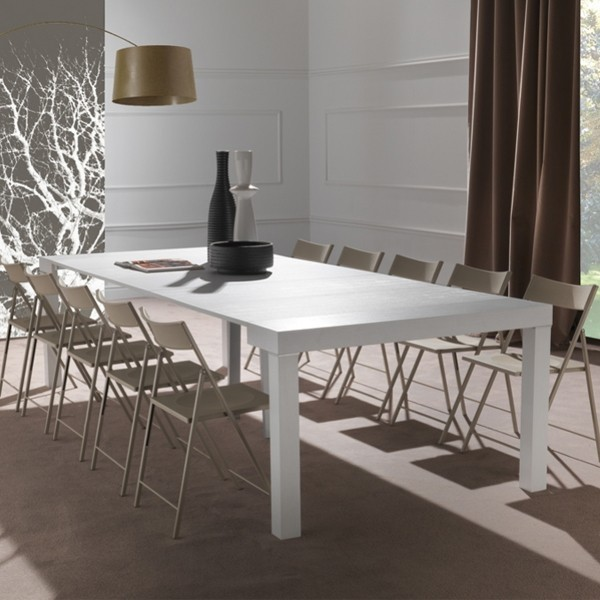 Console transformable en table contemporaine ALIKA, coloris blanc