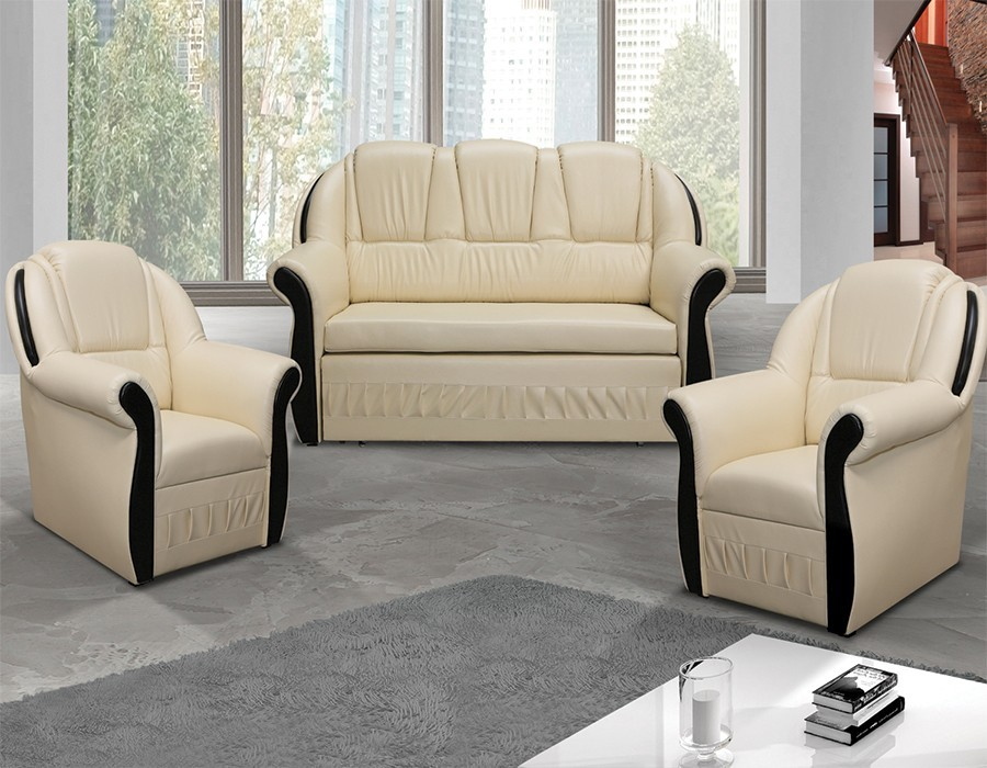 ensemble canap et 2 fauteuils beige et weng. Black Bedroom Furniture Sets. Home Design Ideas
