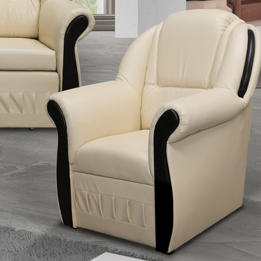 fauteuil en pu beige pas cher. Black Bedroom Furniture Sets. Home Design Ideas