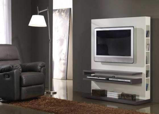 Meuble TV contemporain STAN, coloris cèdre gris et blanc brillant
