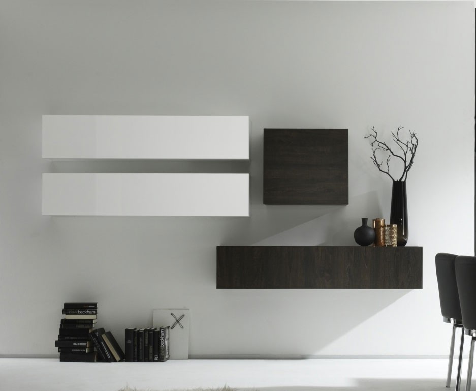 Ensemble de meubles suspendus contemporains AMIENS, coloris blanc brillant et wengé
