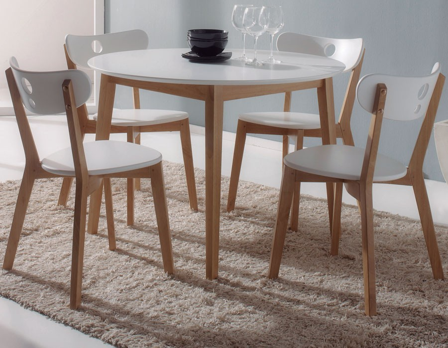 100 chaise table blanche et bois ensemble 1 table et 4 chaise blanc la - Ensemble table chaise cuisine pas cher ...
