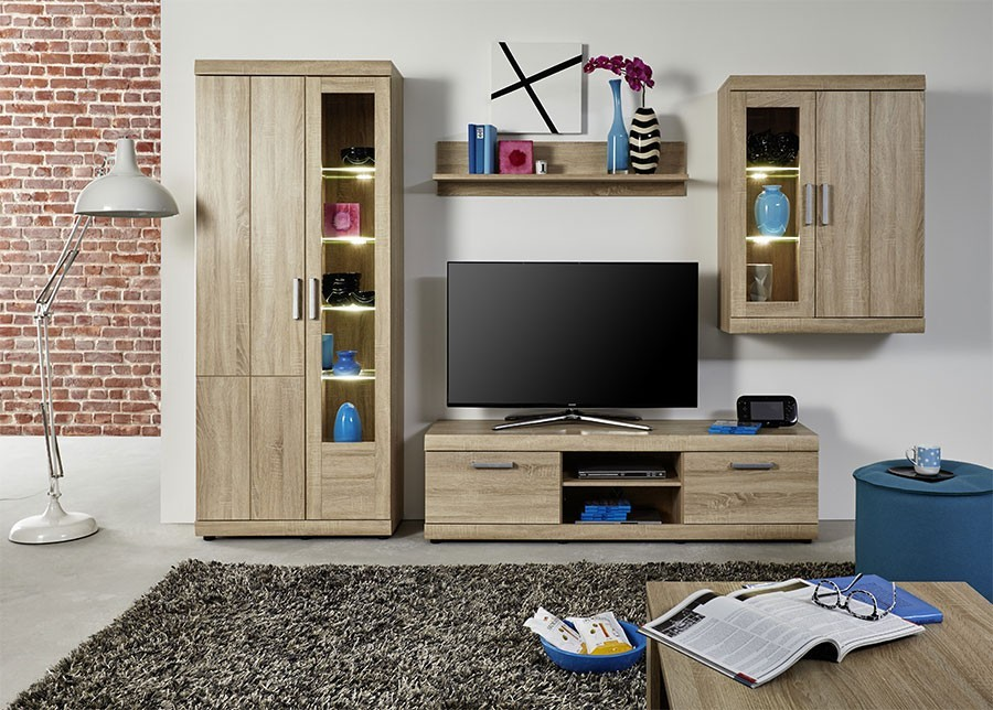 ensemble meuble tv couleur chpene clair style contemporain. Black Bedroom Furniture Sets. Home Design Ideas