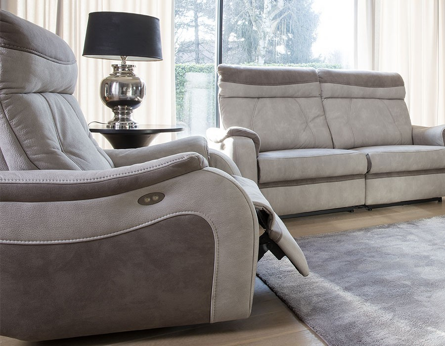 Fauteuil relax beige et taupe THERESE