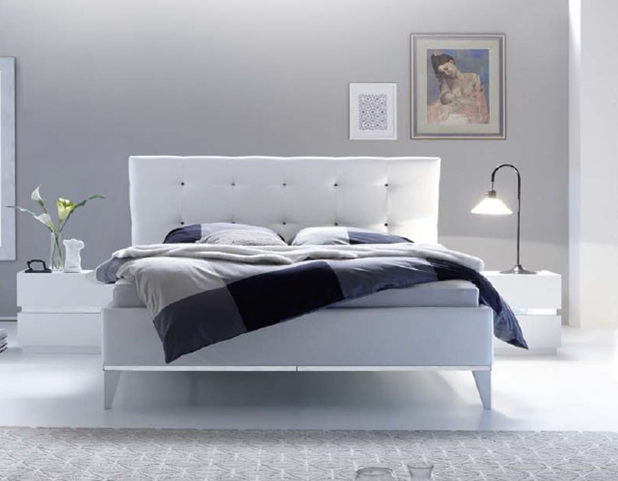 Lit adulte blanc design avec sommier coffre en option ARLA