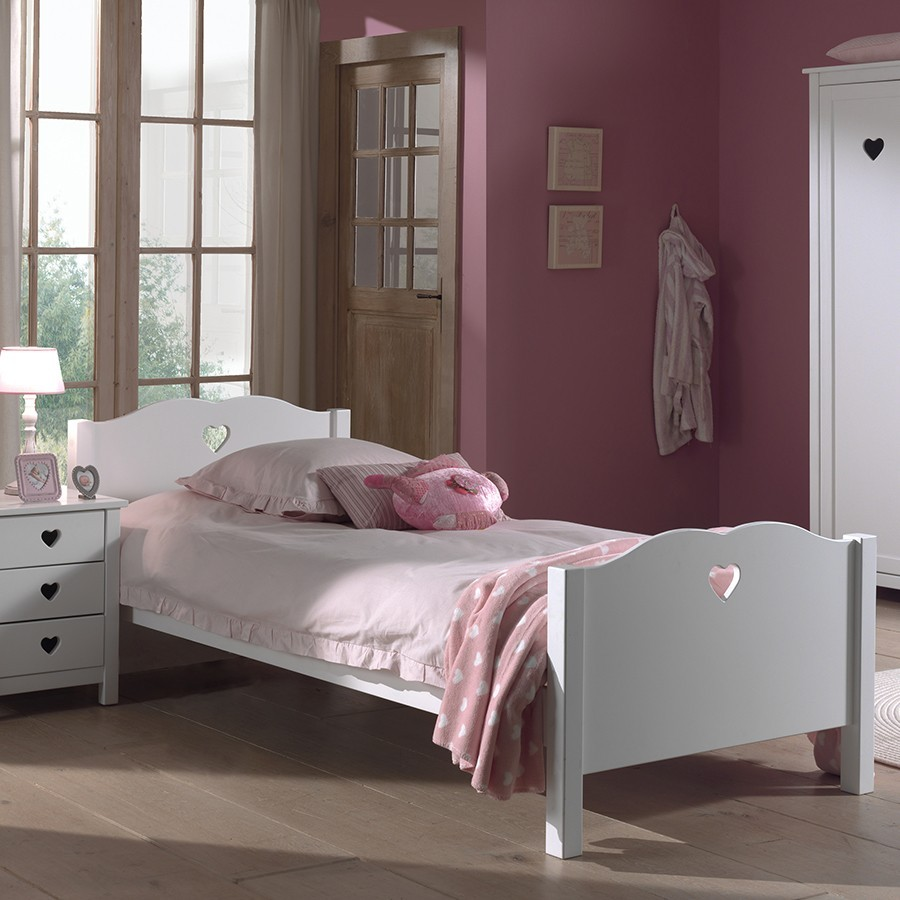 Lit fille blanc contemporain STELLA, avec option lit gigogne