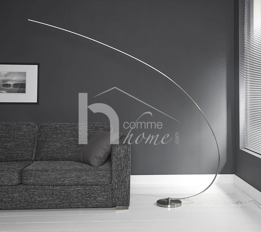 Lampadaire courbe en nickel mat avec LED REED