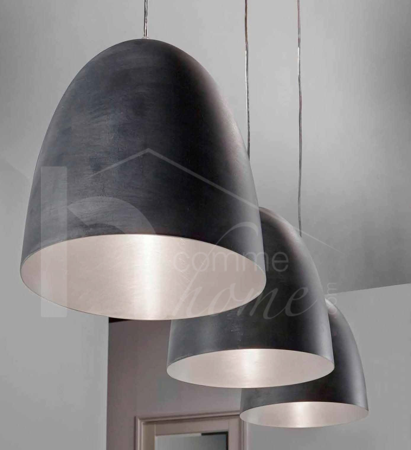 Luminaire suspension design gris CLAUDIO, 3 lampes