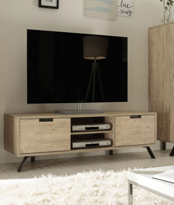 meuble tv 2 portes 2 niches couleur bois. Black Bedroom Furniture Sets. Home Design Ideas