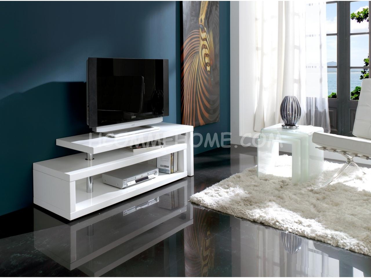 Meuble Tv Design Laqu Blanc Extensible Ofelia Meuble Tv Design  # Meuble Tv Vitree
