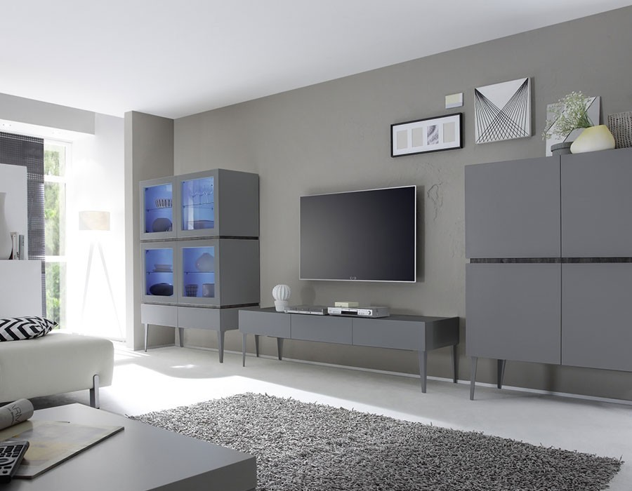 ensemble de meuble de salle manger gris ou blanc laqu. Black Bedroom Furniture Sets. Home Design Ideas