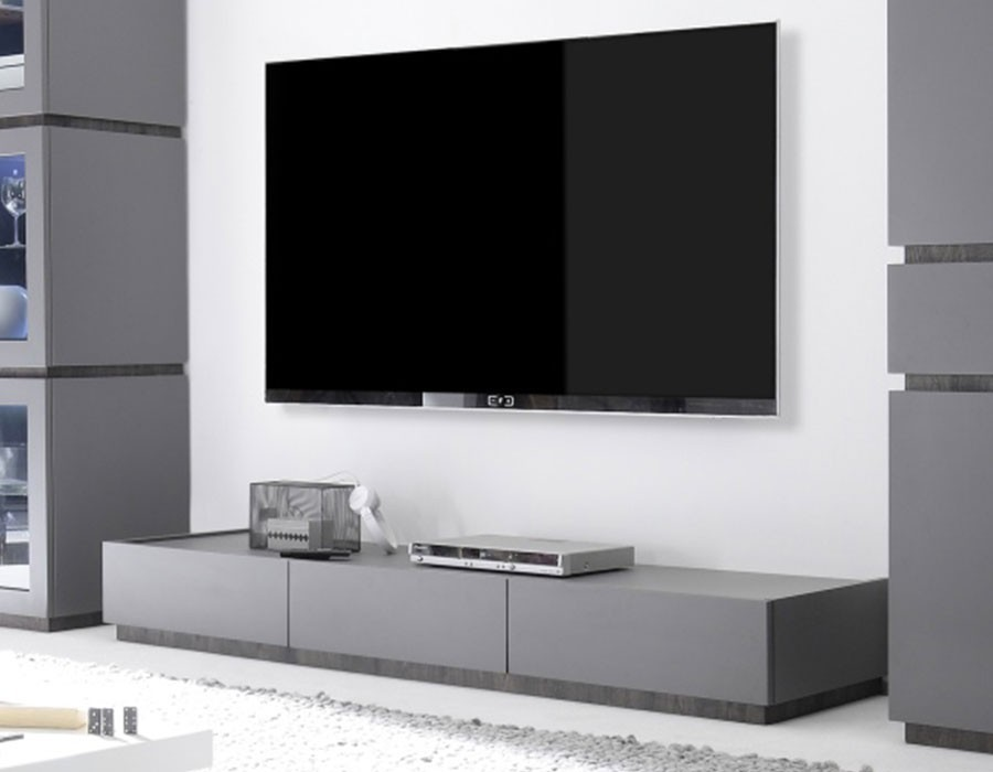 meuble tv gris laqu mat tendance et moderne. Black Bedroom Furniture Sets. Home Design Ideas