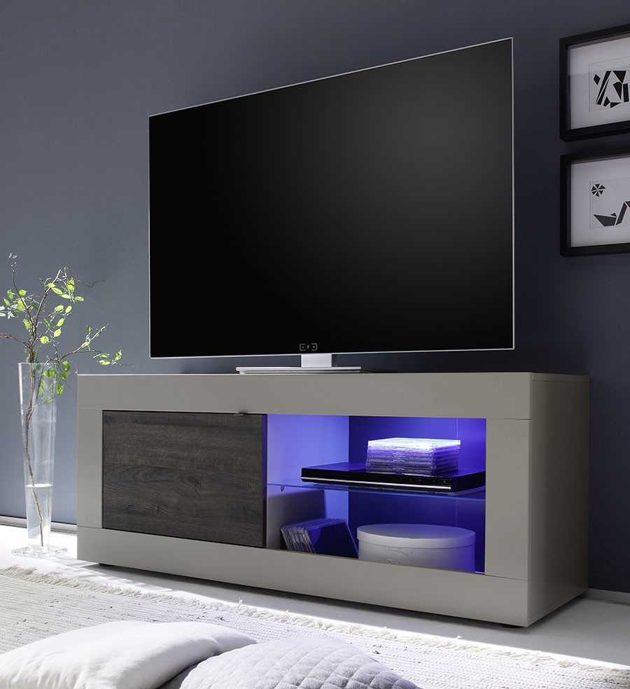 Meuble Tv Moderne Taupe Et Weng Led En Option  # Meuble Taupe