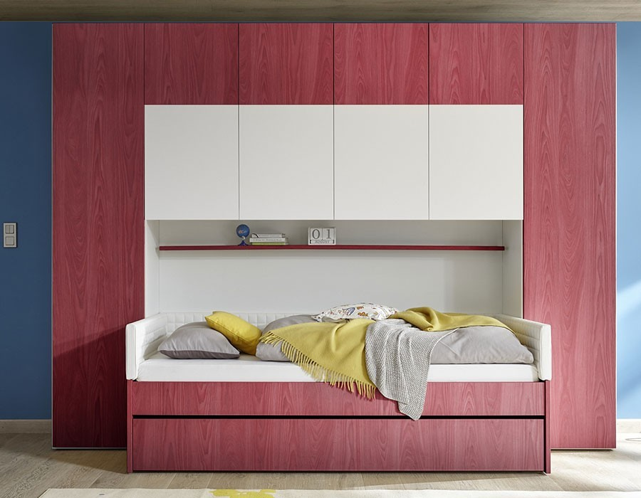 Meuble Pont De Lit Design HcommeHome - Lit design rouge