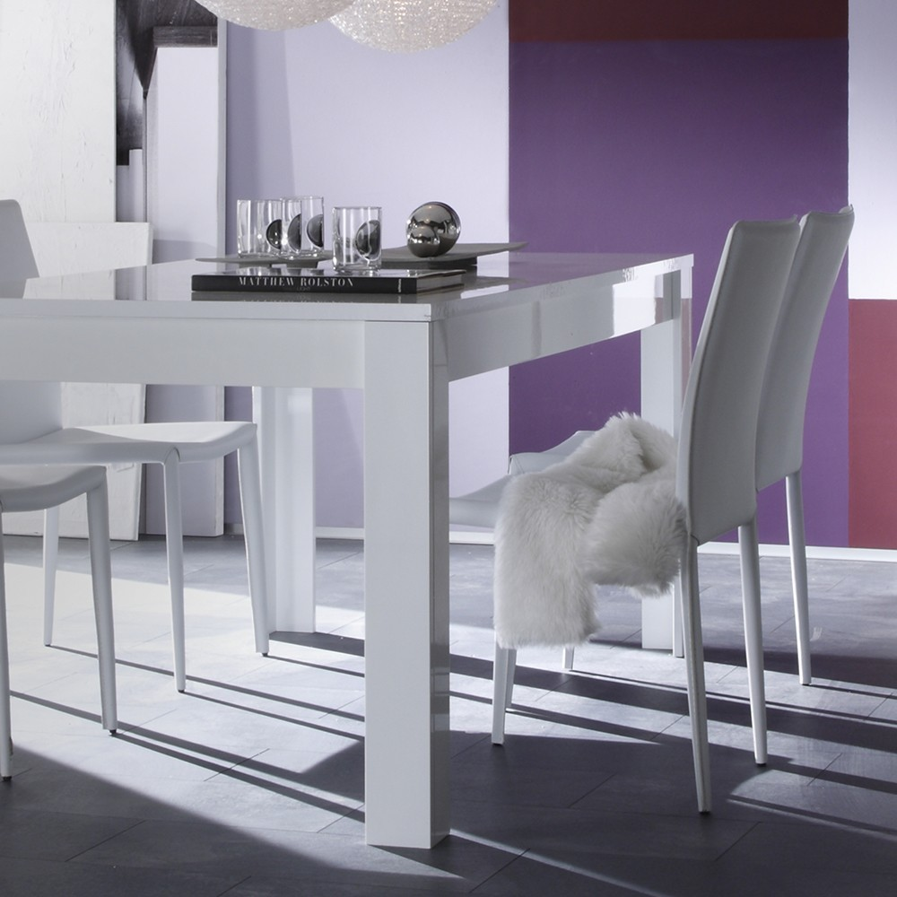 table ronde blanc laque avec rallonge. Black Bedroom Furniture Sets. Home Design Ideas