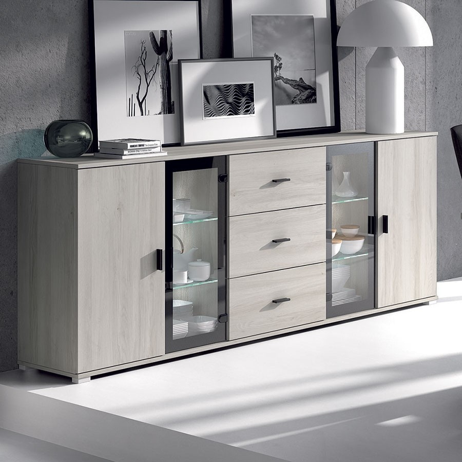 bahut moderne ch ne gris. Black Bedroom Furniture Sets. Home Design Ideas