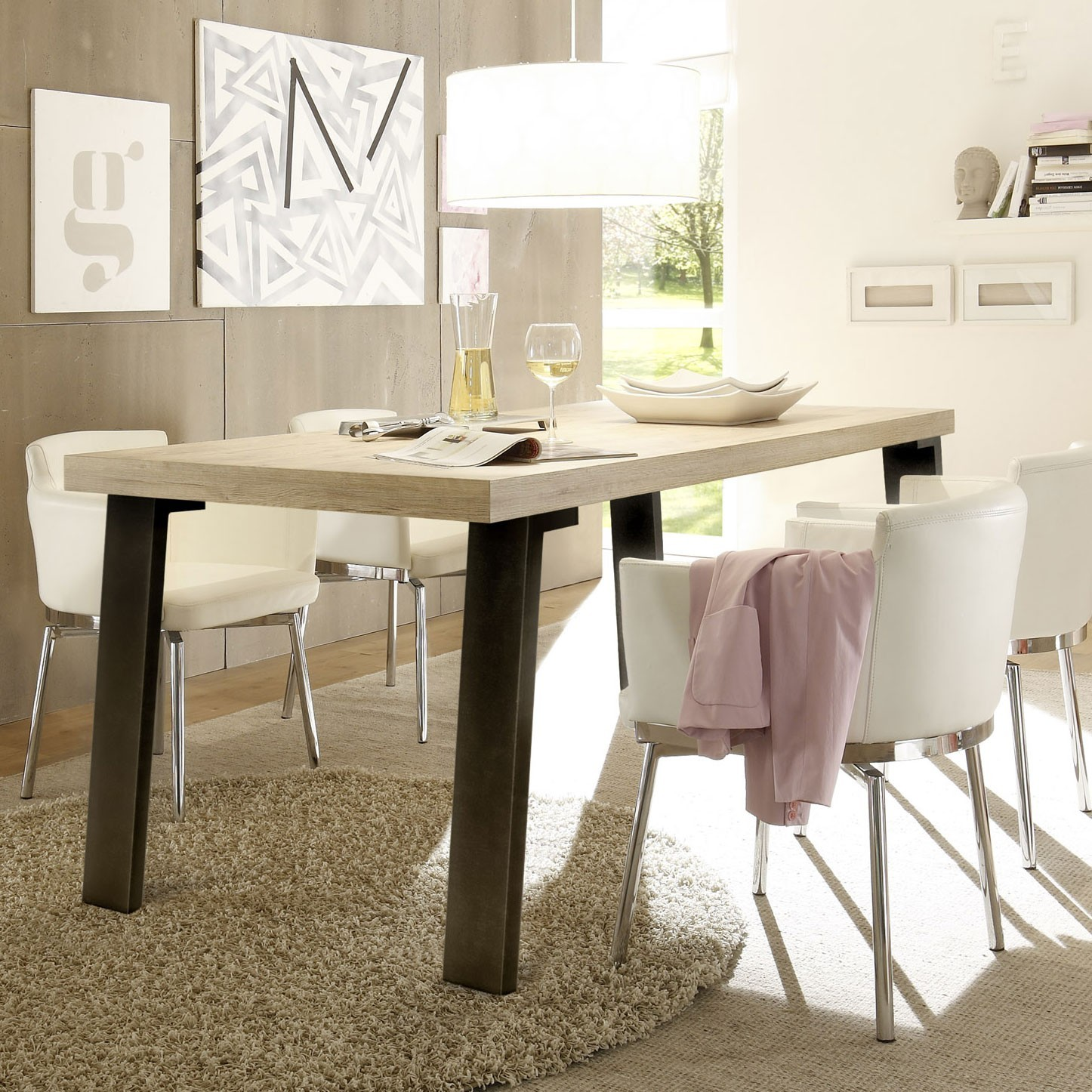 table de repas m tal et bois moderne. Black Bedroom Furniture Sets. Home Design Ideas