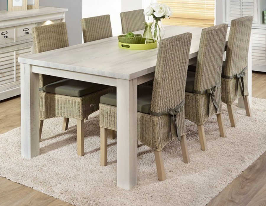 Table à manger contemporaine couleur bois blanc LANETTE