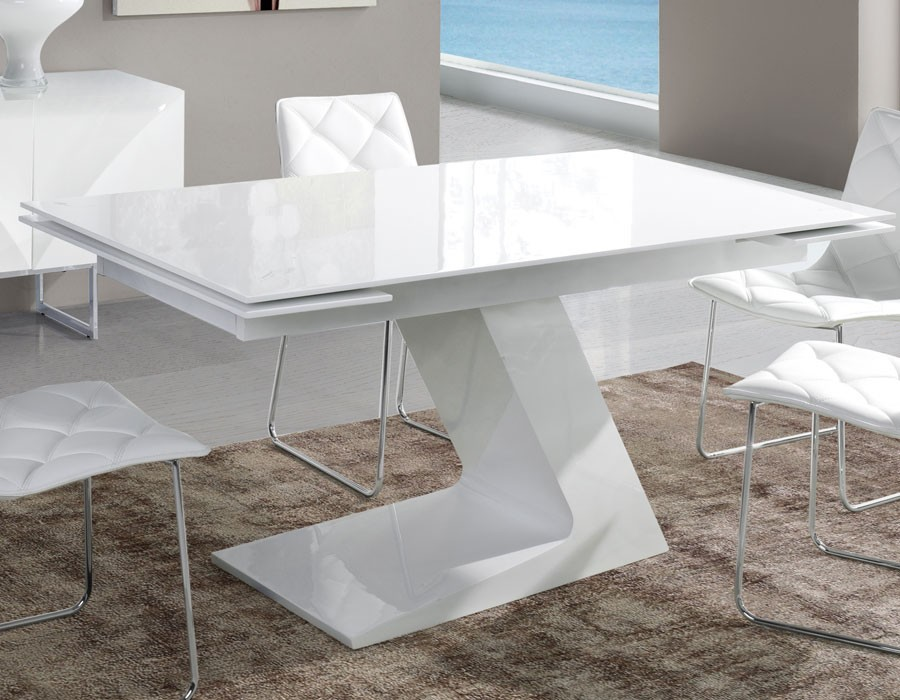 Table salle a manger extensible blanc laque maison for Table salle manger extensible
