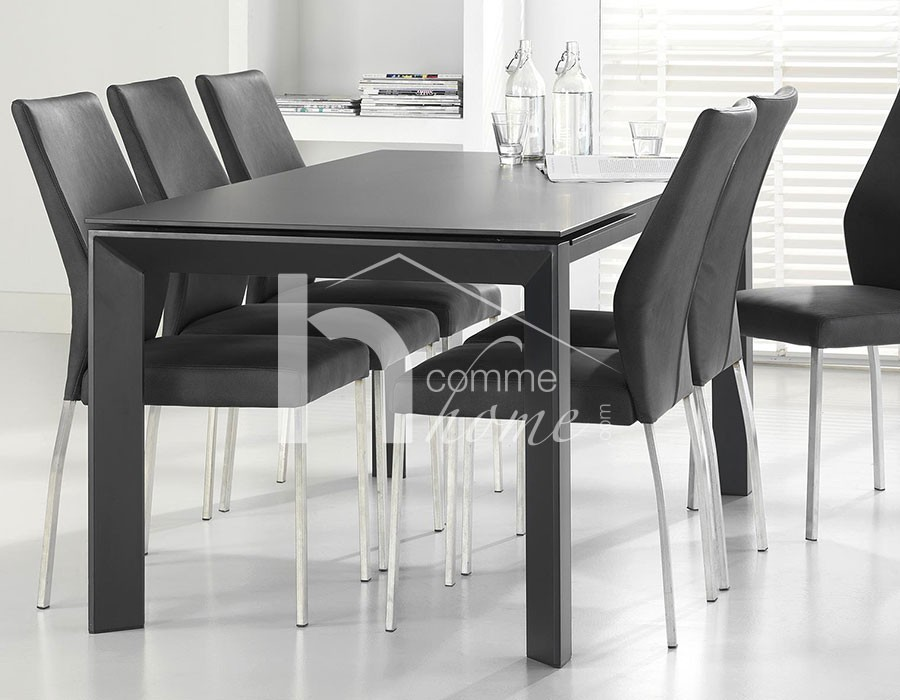 Table a manger verre extensible table a manger en verre for Table verre noir extensible