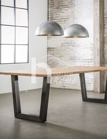 Table A Manger Style Industriel En Acacia Et Inox Brosse Hcommehome
