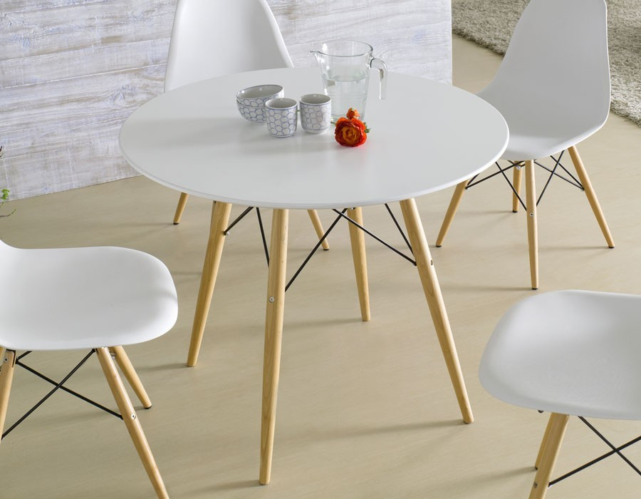 Table a manger ronde blanche for Table a manger ronde bois