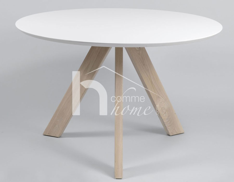 Table ronde alinea blanche for Table ronde rallonge blanche