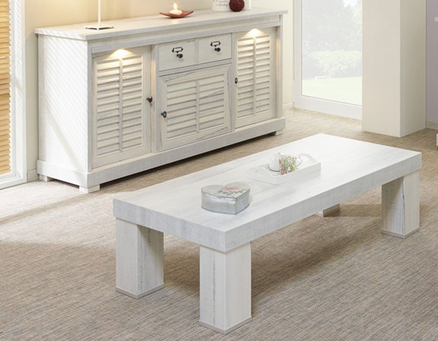 table de salon contemporaine bois blanc lanette - hcommehome
