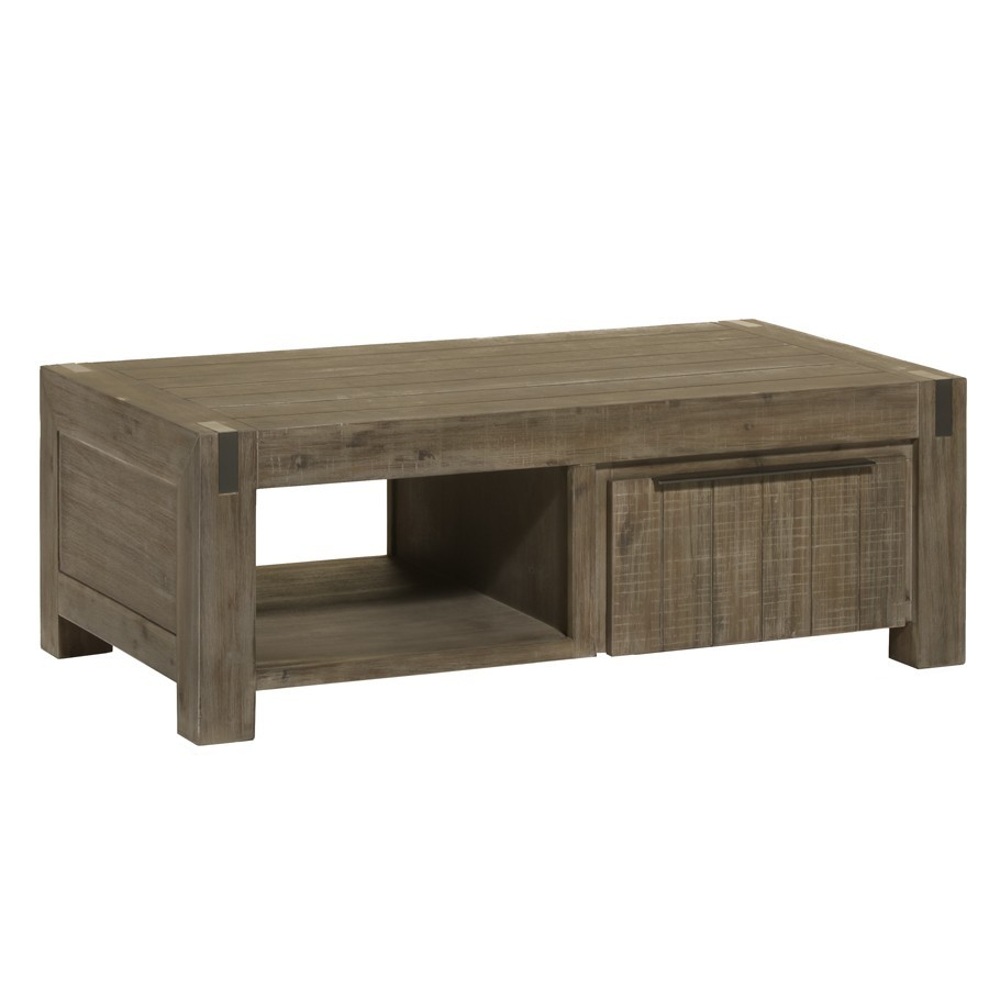 Table basse rectangulaire contemporaine en acacia OTTAWA, 2 tiroirs